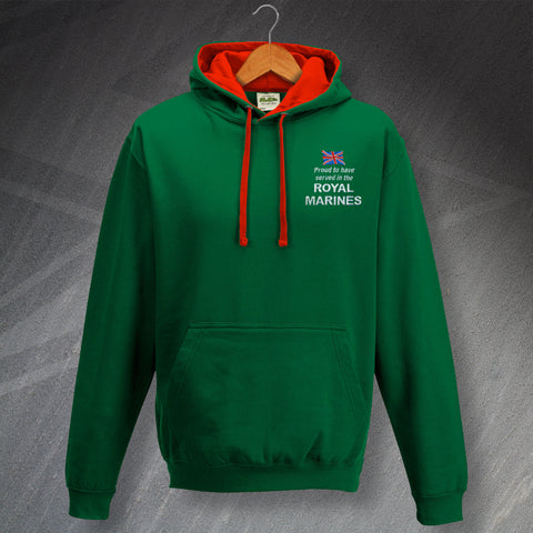 Proud to Have Served In The Royal Marines Embroidered Contrast Hoodie