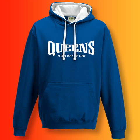 Queens Contrast Hoodie with It's a Way of Life Design