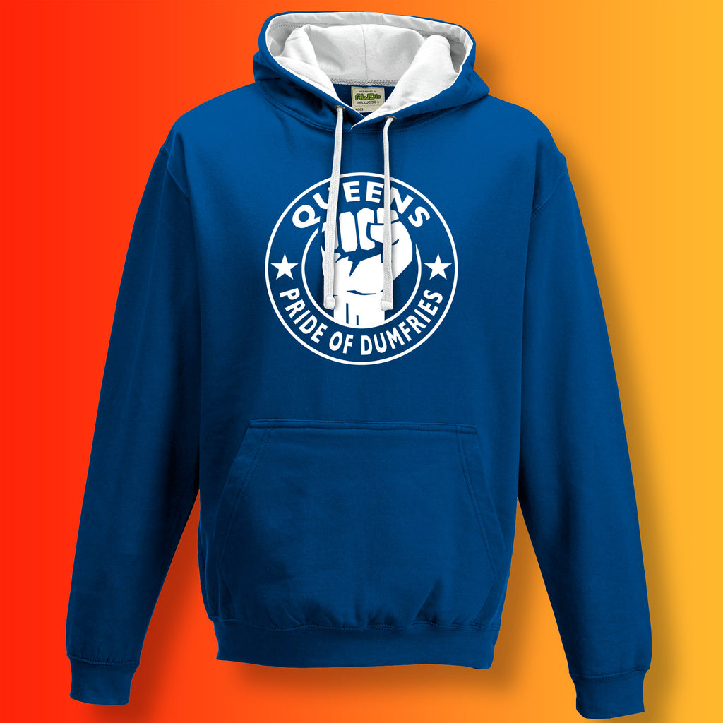 Queens Contrast Hoodie with The Pride of Dumfries Design