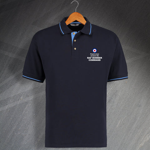 Proud to Have Served In The RAF Bomber Command Embroidered Contrast Polo Shirt