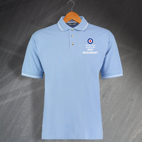 RAF Regiment Polo Shirt Embroidered Contrast Proud to Have Served