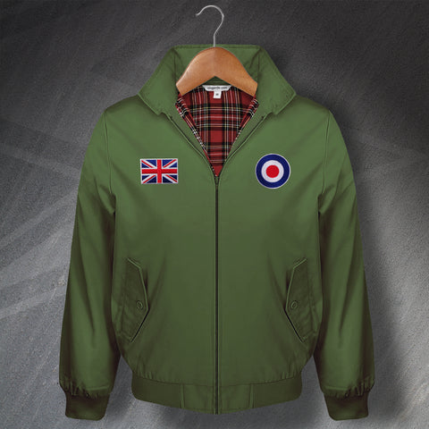 Classic Harrington Jacket with Embroidered RAF Roundel & Union Flag