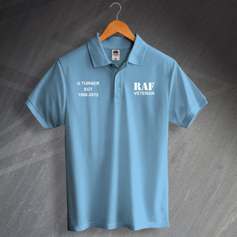 RAF Veteran Printed Polo Shirt Personalised with Service Details