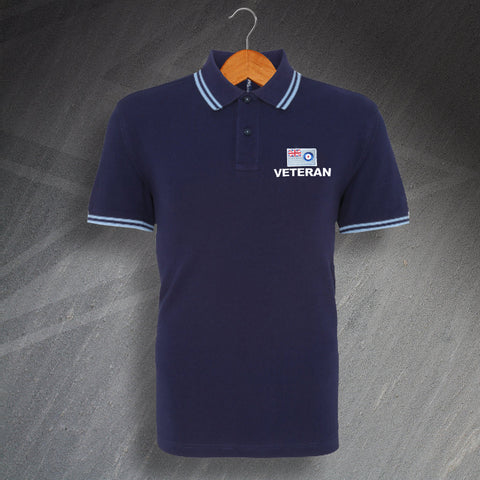 RAF Polo Shirt Embroidered Tipped Royal Air Force Ensign Veteran