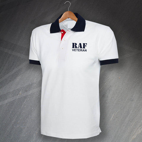 RAF Polo Shirt Embroidered Tricolour Royal Air Force Ensign Veteran