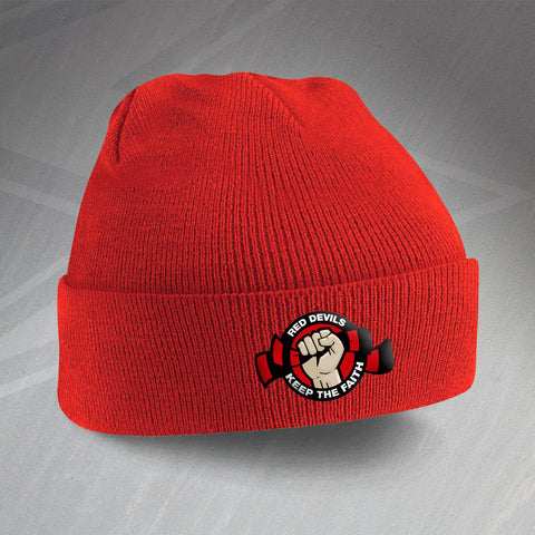 Salford Rugby Beanie Hat Embroidered Red Devils Keep The Faith