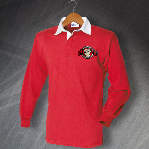 Salford Rugby Shirt Embroidered Long Sleeve Red Devils Keep The Faith