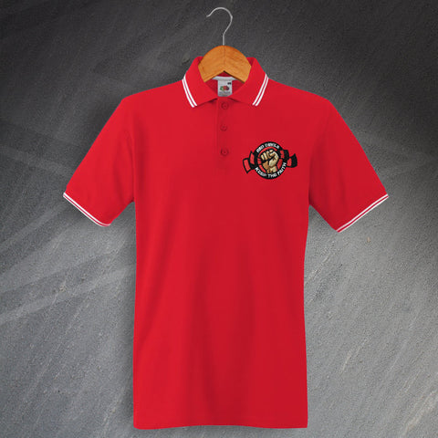United Football Polo Shirt Embroidered Tipped Red Devils Keep The Faith