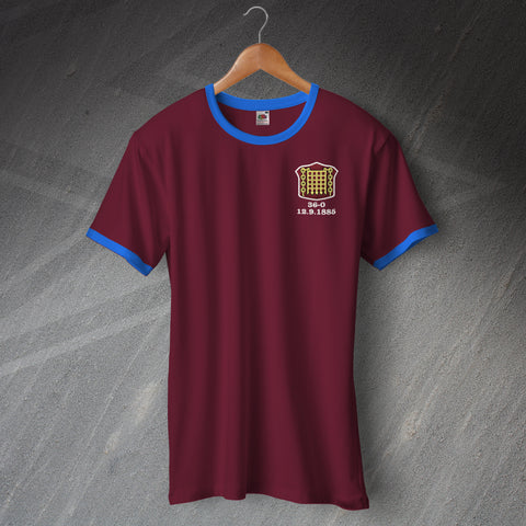 Retro Arbroath Football Ringer Shirt with Embroidered Badge