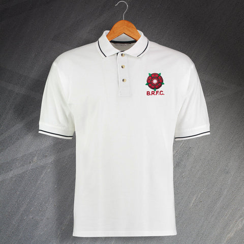 Retro Blackburn 1974 Embroidered Contrast Polo Shirt