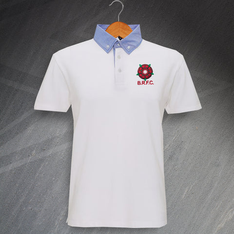 Blackburn Football Polo Shirt Embroidered Chambray Button 1974