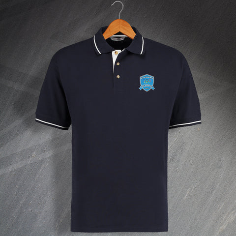Retro Blackburn Olympic Embroidered Contrast Polo Shirt