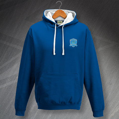 Retro Blackburn Olympic Contrast Hoodie with Embroidered Badge