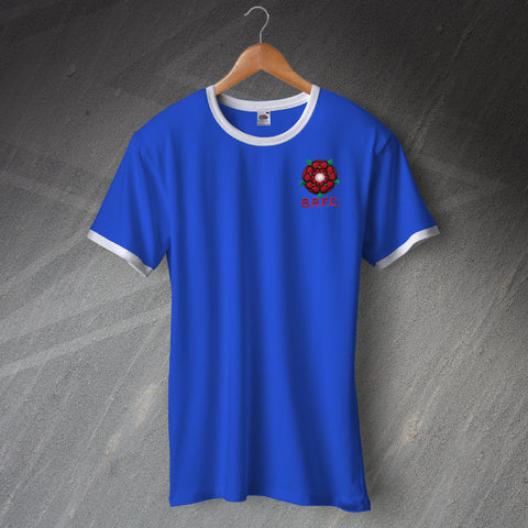 Retro Blackburn Ringer Shirt with Embroidered 1974 Badge