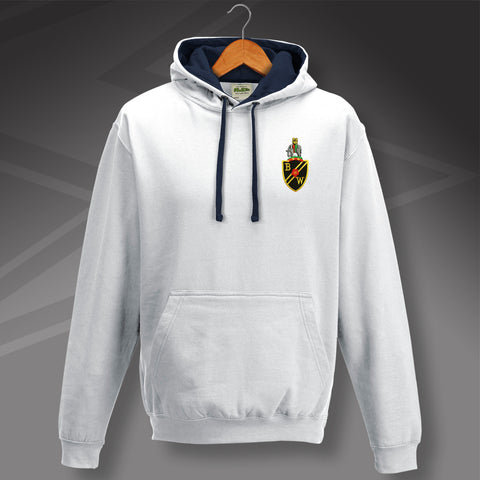Retro Bolton Contrast Hoodie with Embroidered Badge