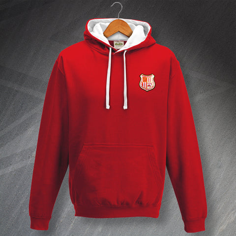 Retro Brentford Contrast Hoodie with Embroidered Badge