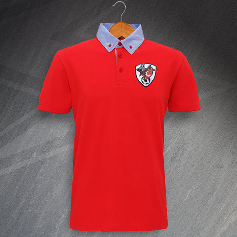 Bristol City Football Polo Shirt Embroidered Chambray Button 1976