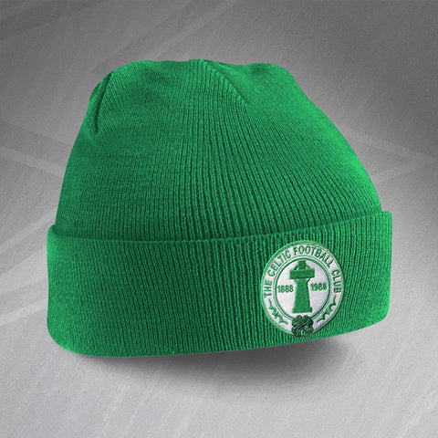 Retro Celtic Centenary Beanie Hat with Embroidered Badge