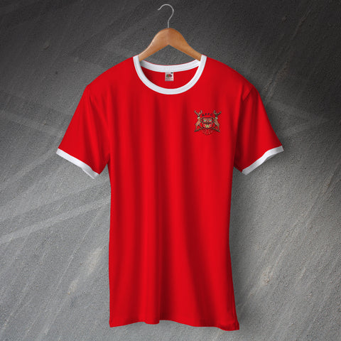 Retro Forest Football Ringer Shirt with Embroidered Badge