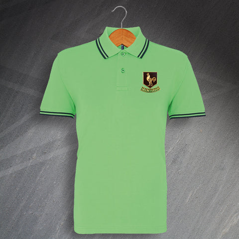 Glentoran Football Polo Shirt Embroidered Tipped 1970s