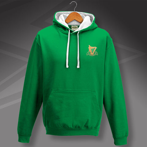 Retro Hibs Contrast Hoodie with 1900s Embroidered Badge