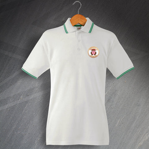 Retro Hibs 1980s Embroidered Tipped Polo Shirt