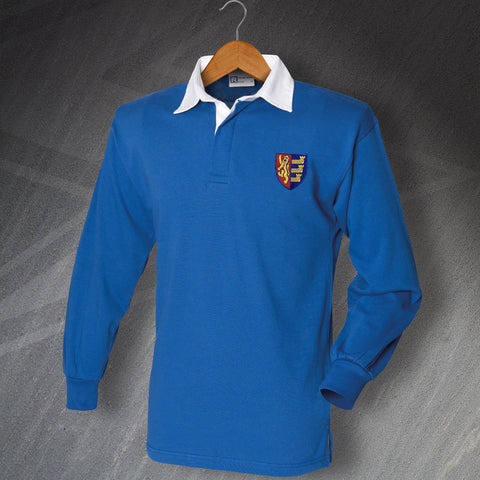 Retro Ipswich Long Sleeve Football Shirt with Embroidered Badge