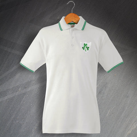 Ireland Rugby Polo Shirt Embroidered Tipped 1871
