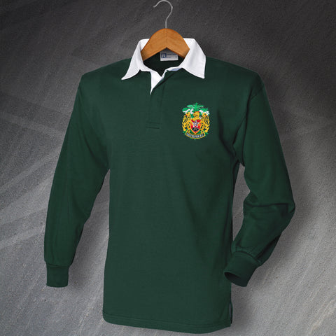 Retro Leicester FC Long Sleeve Rugby Shirt with Embroidered Badge