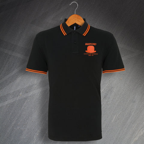 Luton Football Polo Shirt Embroidered Tipped League Cup Winners 1988