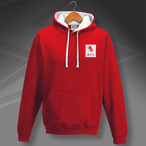 Retro Middlesbrough Contrast Hoodie with Embroidered Badge