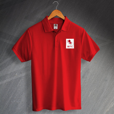 Retro Middlesbrough Polo Shirt with Embroidered Badge