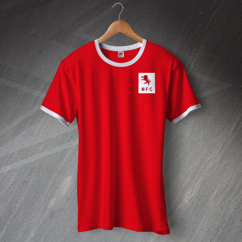 Retro Middlesbrough Football Ringer Shirt with Embroidered Badge