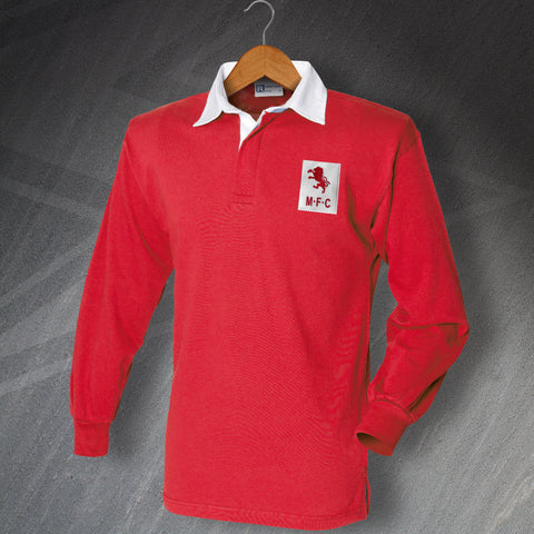 Retro Middlesbrough Long Sleeve Shirt with Embroidered Badge