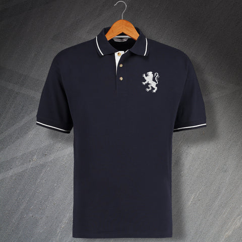 Millwall Football Polo Shirt Embroidered Contrast 1977