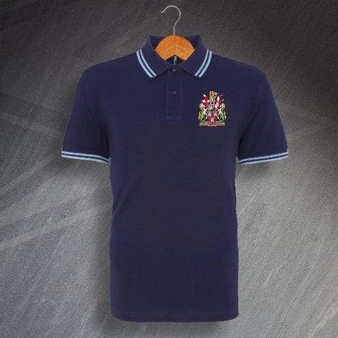 Newcastle Football Polo Shirt Embroidered Tipped 1969