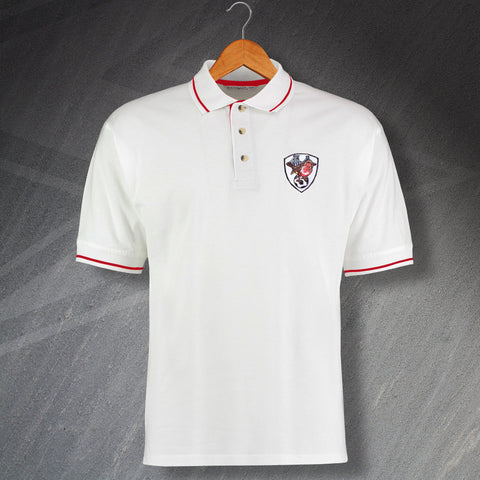 Bristol City Football Polo Shirt Embroidered Contrast 1976