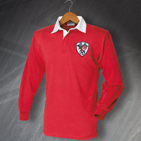 Bristol City Football Polo Shirt Embroidered Long Sleeve 1976