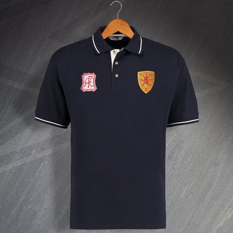 Aberdeen Football Polo Shirt Embroidered Contrast 1963 & 1879 Scotland National Team Badge