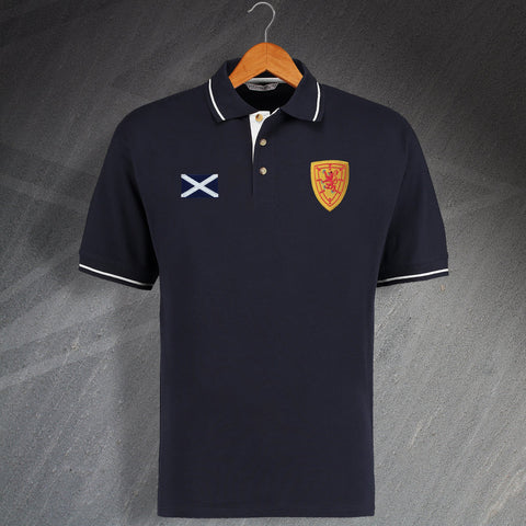 Scotland Football Polo Shirt Embroidered Contrast 1879 & Additional Badge