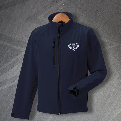 Retro Scotland Rugby Softshell Jacket with Embroidered Badge