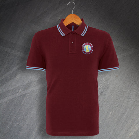 Retro Scunthorpe Tipped Polo Shirt with Embroidered Badge