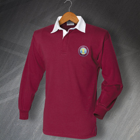 Retro Scunthorpe Long Sleeve Football Shirt with Embroidered Badge