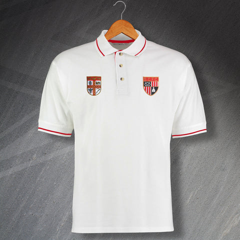 Stoke Football Polo Shirt Embroidered Contrast 1953 & 1977
