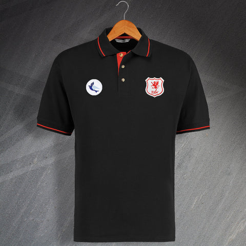 Cardiff Football Polo Shirt Embroidered Contrast 1969 & 1926 Wales National Team Badge