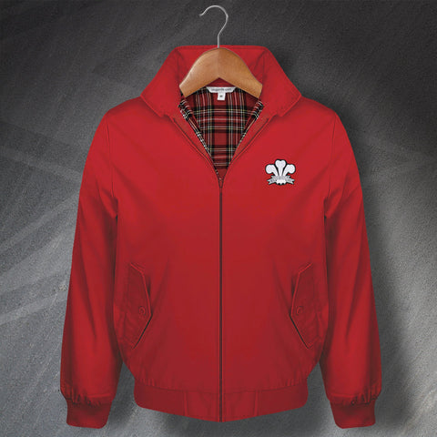 Retro Wales Rugby Classic Harrington Jacket with Embroidered Badge