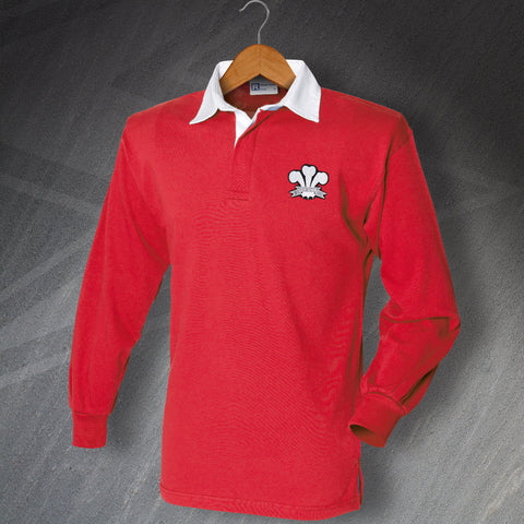 Retro Wales Rugby Shirt with Embroidered Badge