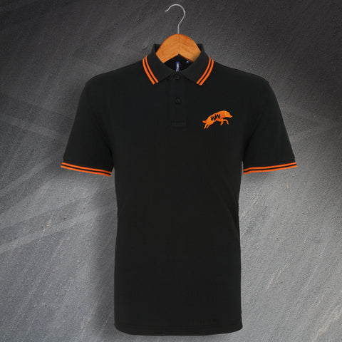 Wolves Football Polo Shirt Embroidered Tipped 1970s