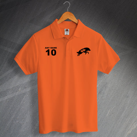 Retro Wolves Printed Polo Shirt Personalised with any Number & Name