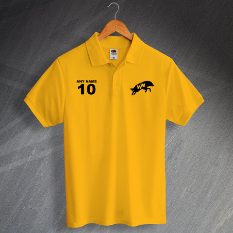 Wolves Football Polo Shirt Printed Personalised 1970s